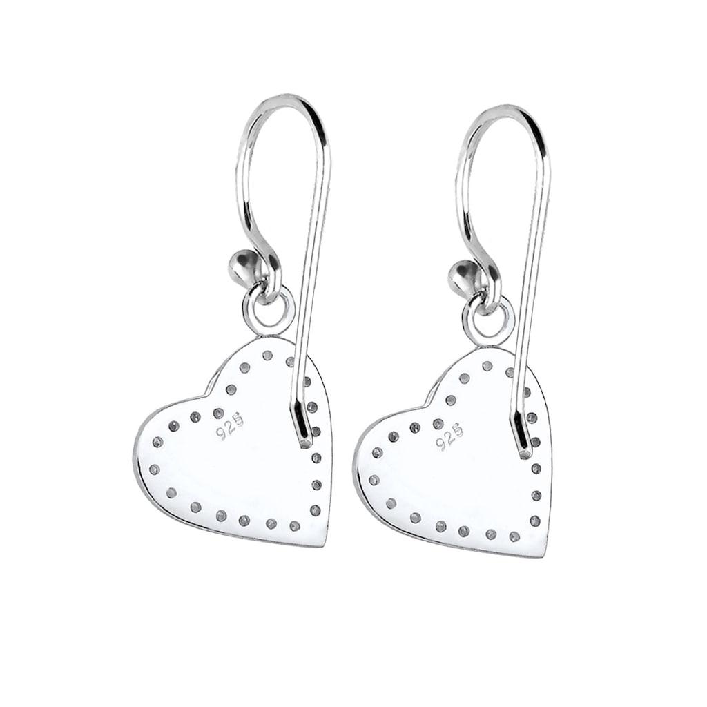 Elli Paar Ohrhänger »Herz Spatzl Kristalle 925 Silber«