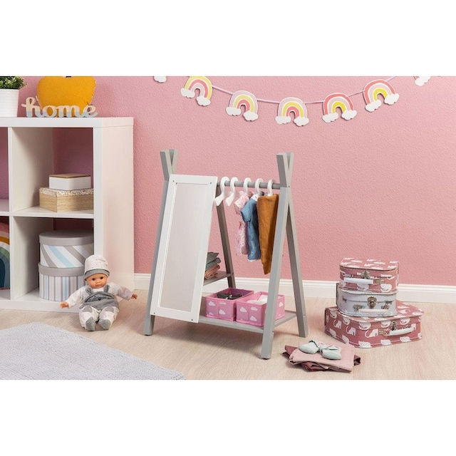 """MUSTERKIND® Puppenkleiderschrank """"Barlia, grau/weiß"""""""