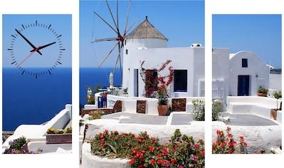 Conni Oberkircher´s Bild »Santorini II«, Meer, (Set), mit dekorativer Uhr kaufen