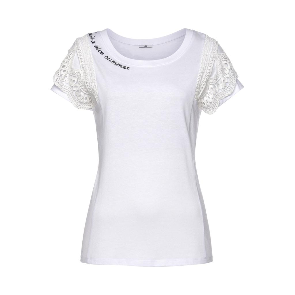 AJC T-Shirt, mit Volant-Einsatz aus Spitze & Stickerei am Halsausschnitt