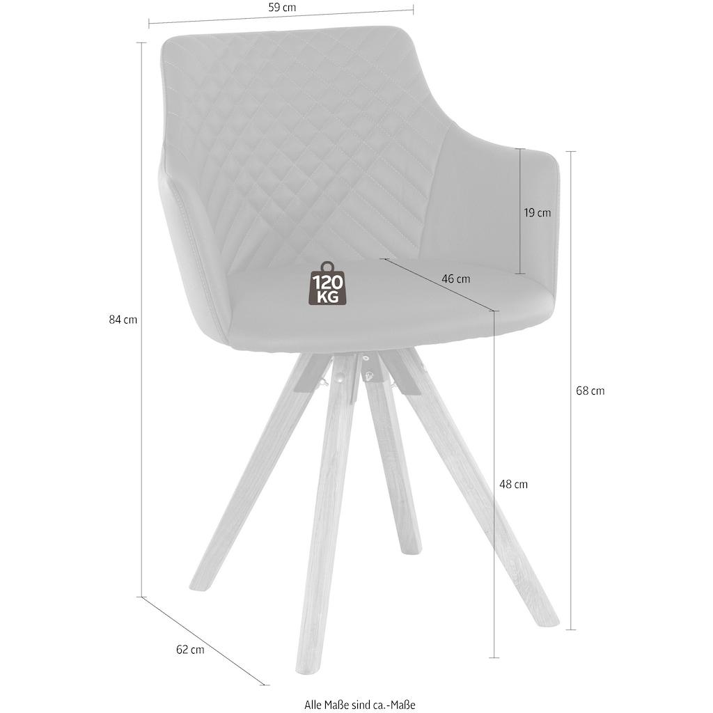 Armlehnstuhl »LISABON«, mit Drehfunktion, Bezug aus Leder, das Gestell aus Eiche Massivholz geölt