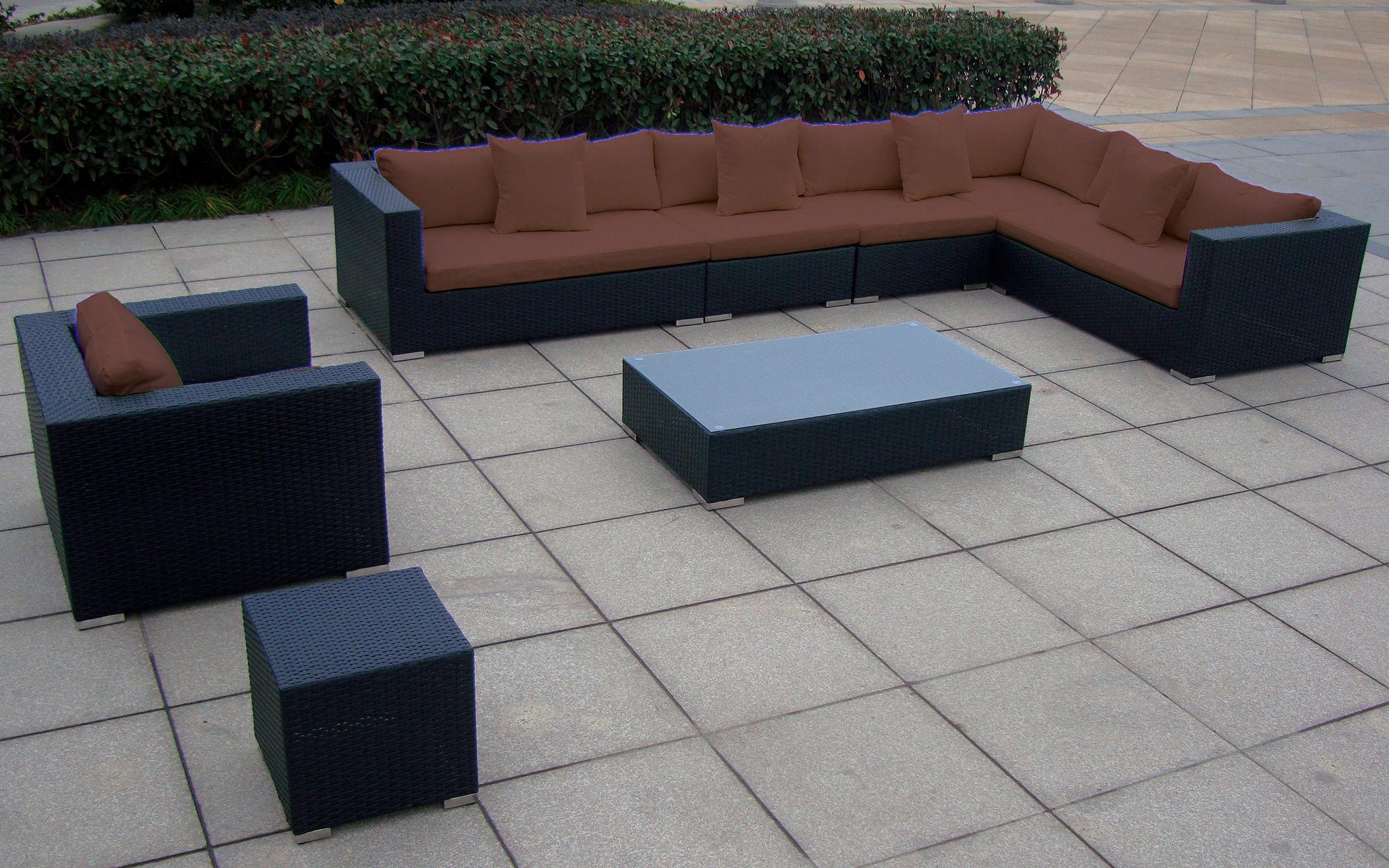 BAIDANI Loungeset Sunmaster 1 XXL Sofa 1 Sessel 1 Tisch 1 Beistelltisch Polyrattan