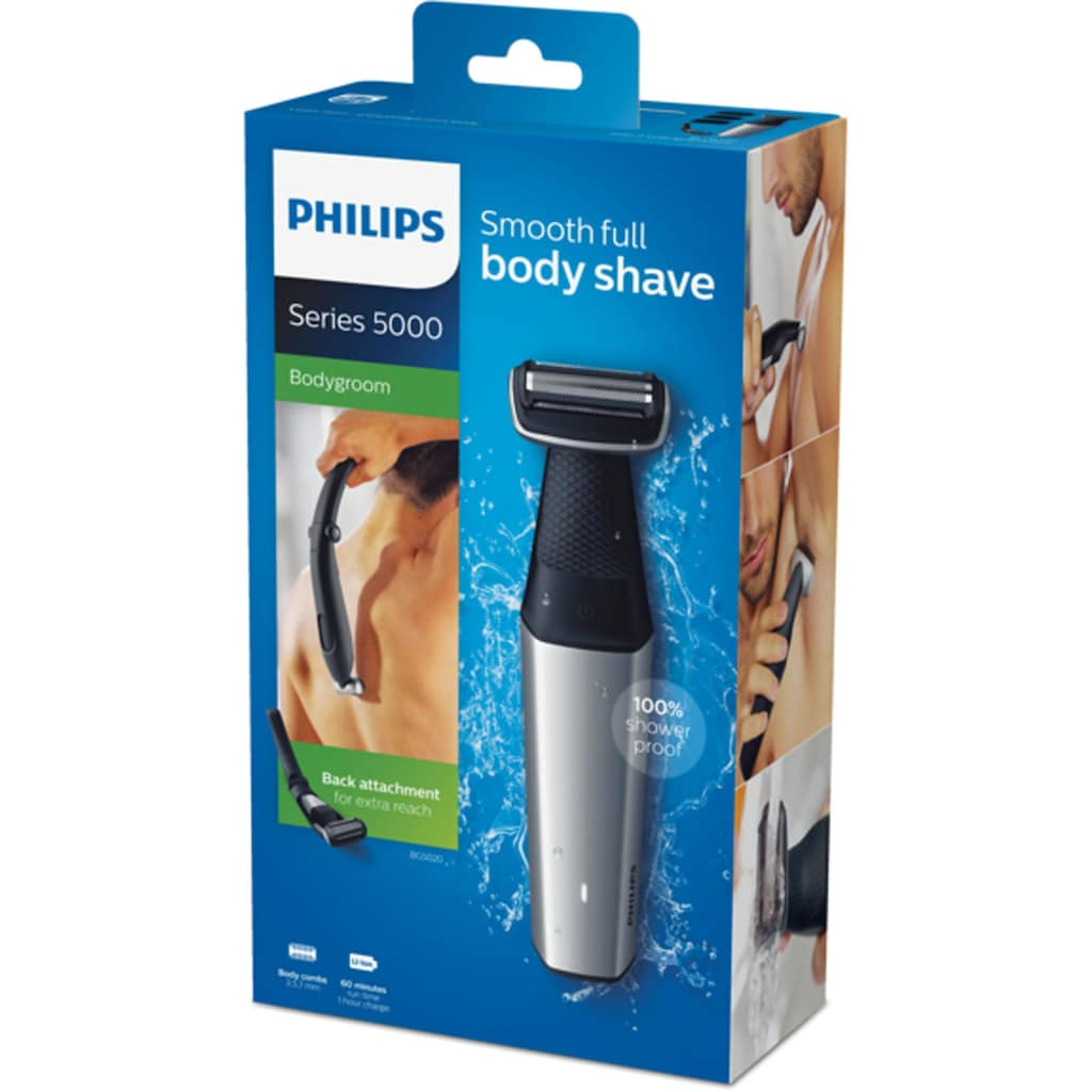 Philips Elektrokörperrasierer »Series 5000 BG5020/15«, 3 St. Aufsätze, Langhaartrimmer, Bodygroom mit 3 Trimmaufsätzen
