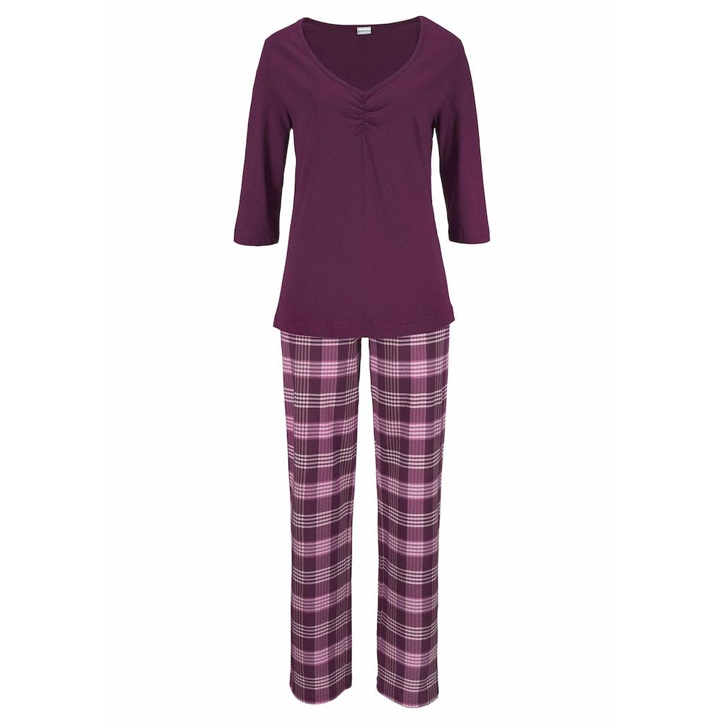 petite fleur Pyjama, (2 Stück), mit karierter Hose