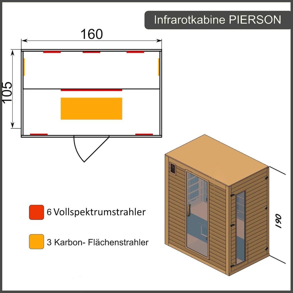 Dewello Infrarotkabine »Pierson Dual-Therm«, für bis zu 3 Personen