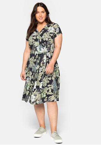 sheego by Joe Browns Sommerkleid, mit Blumendruck und Bindegürtel kaufen