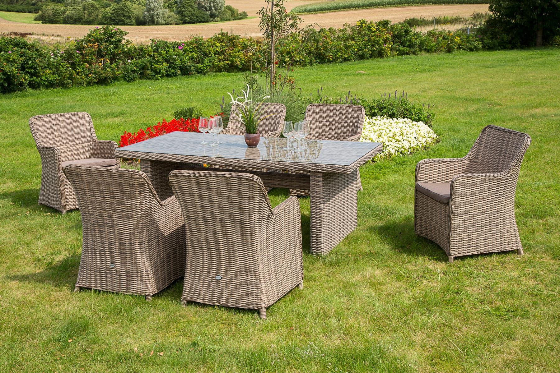 MERXX Gartenmöbelset Riviera NL 13-tlg 6 Sessel Tisch 200x100 Kunststoff/Stahl