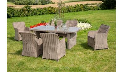 MERXX Gartenmöbelset »Riviera NL«, 13 - tlg., 6 Sessel, Tisch 200x100, Kunststoff/Stahl kaufen