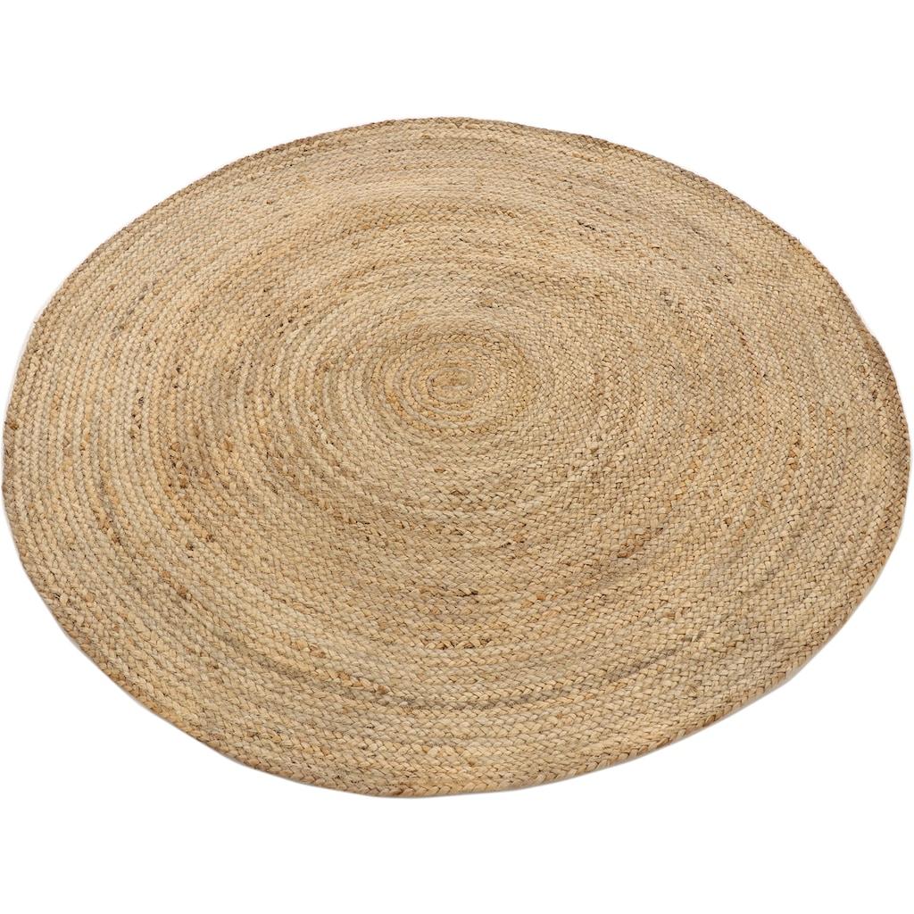 carpetfine Teppich »Nele«, rund, 6 mm Höhe, Wendeteppich 100% Jute in rund und oval, Wohnzimmer