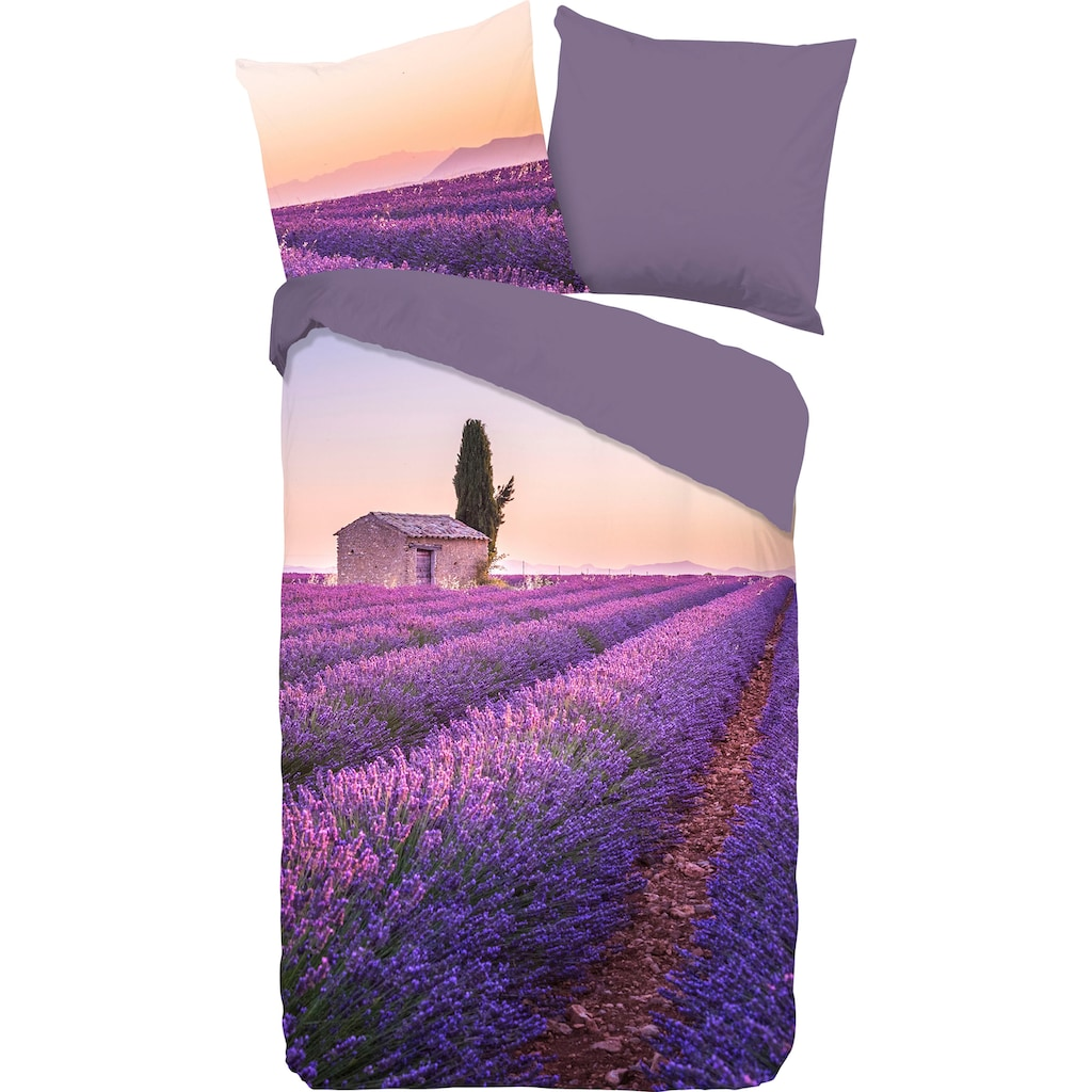 PURE luxury collection Wendebettwäsche »Lavender«, mit Lavendelfeld