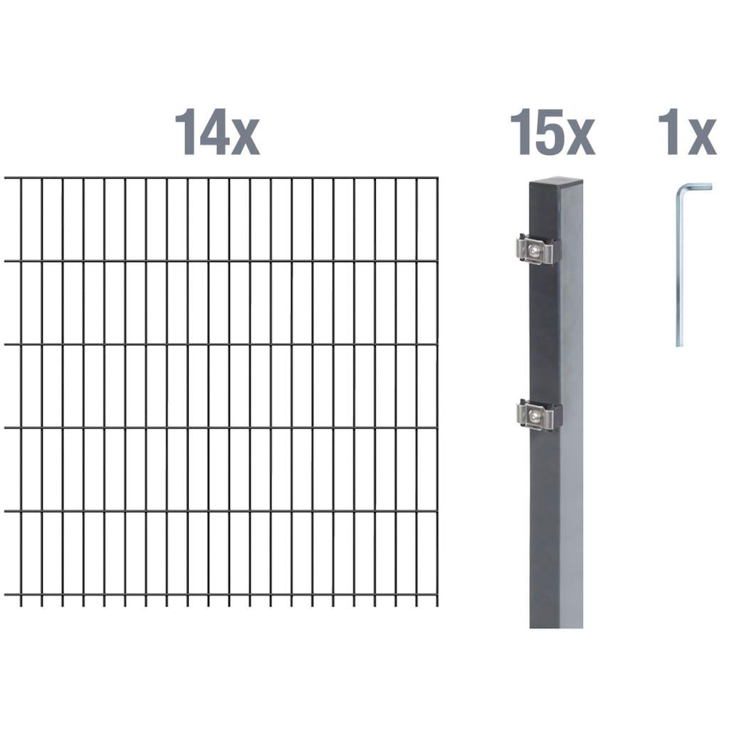 GAH Alberts Doppelstabmattenzaun, 140 cm hoch, 14 Matten für 28 m, 15 Pfosten