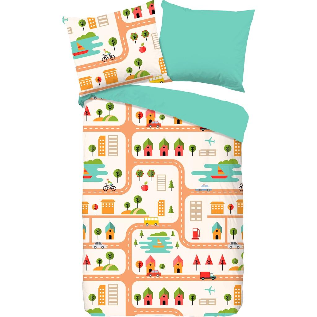 good morning Kinderbettwäsche »Roadmap«, mit Stadt-Motiv