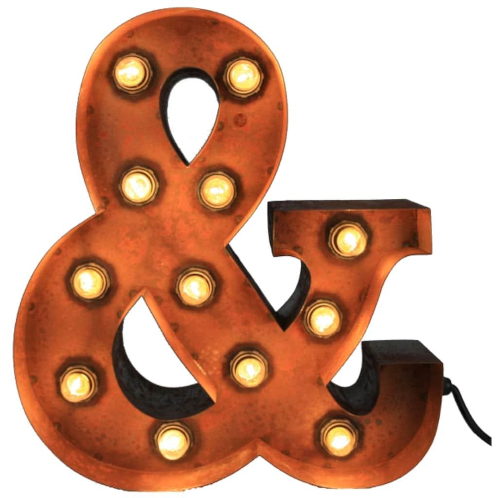 MARQUEE LIGHTS LED Dekolicht »&-Zeichen«, E14, 1 St., Warmweiß, Wandlampe, Tischlampe &-Sign mit 12 festverbauten LEDs - 34cm Breit und 38cm hoch