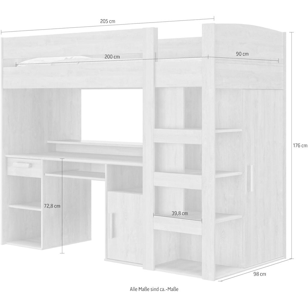 Gami Etagenbett »Montana«, Mit integriertem Schreibtisch und Kleiderschrank