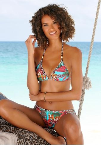 Bruno Banani Triangel-Bikini, mit Mustermix und Zierperlen kaufen