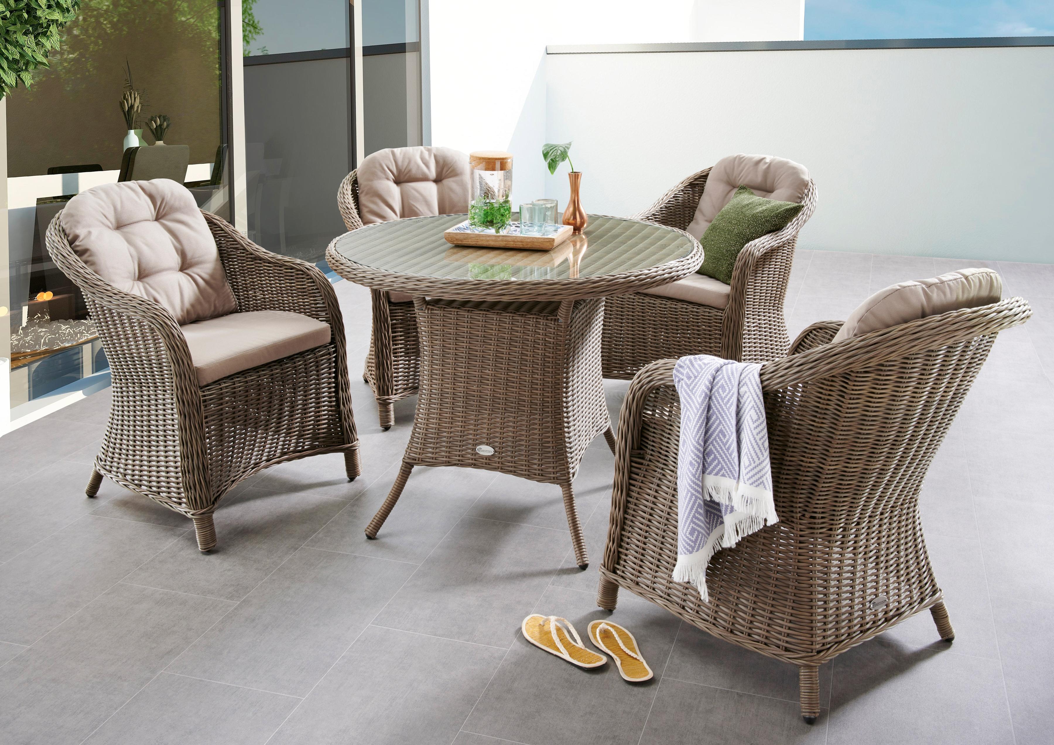 DESTINY Sitzgruppe Key West 5-tlg 4 Sessel Tisch 100 cm Alu/Polyrattan