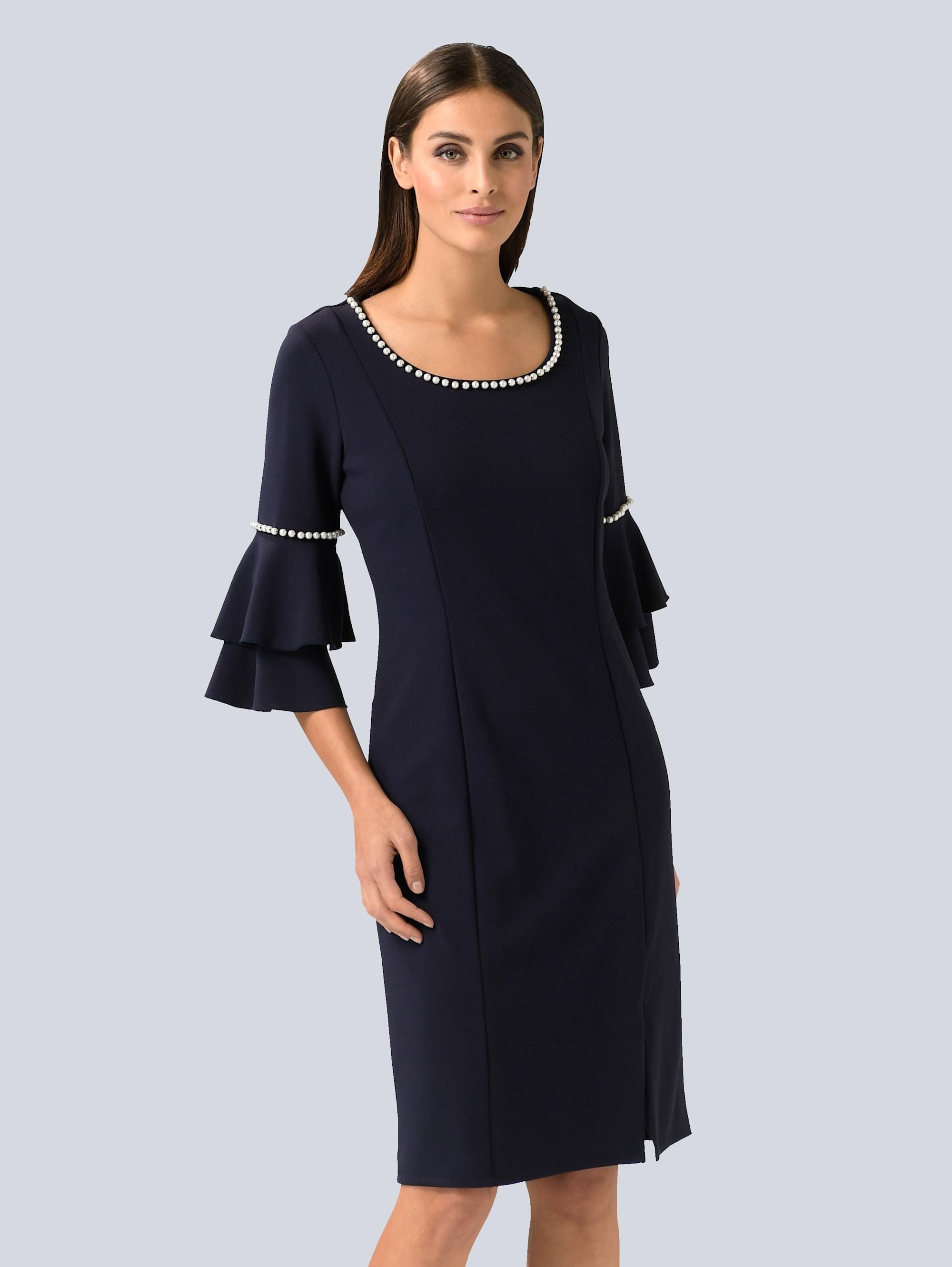 alba moda -  Etuikleid, mit femininen Perlen verziert