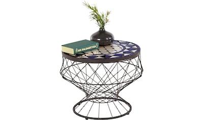 Home affaire Beistelltisch »Lesterby«, mit einer Mosaik Keramiktischplatte und einem braunen pulverbeschichtetem Metallgestell, Durchmesser 51 cm kaufen
