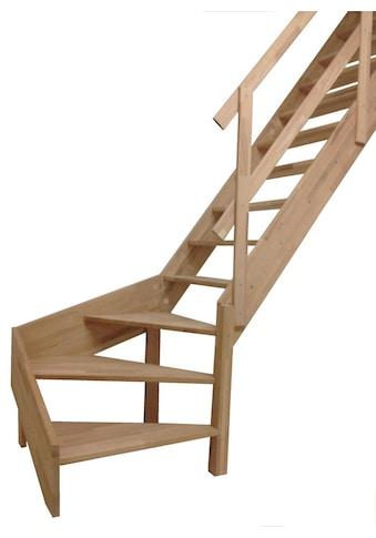 STARWOOD Raumspartreppe »Rhodos«, offene Stufen, 1/4 links gewendelt, Holzgeländer links kaufen