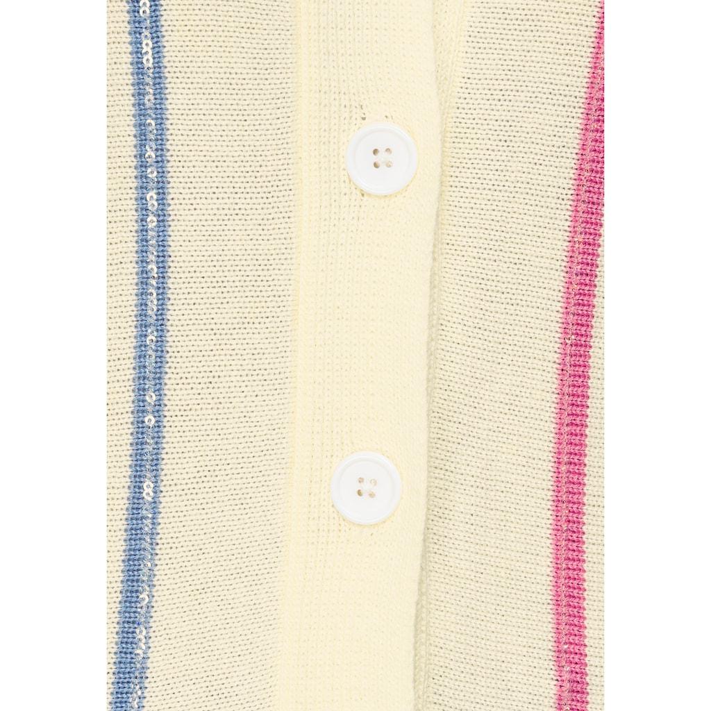 AJC Cardigan, im Horizontalstrick & transparenten Pailleten auf den Konstrast-Streifen
