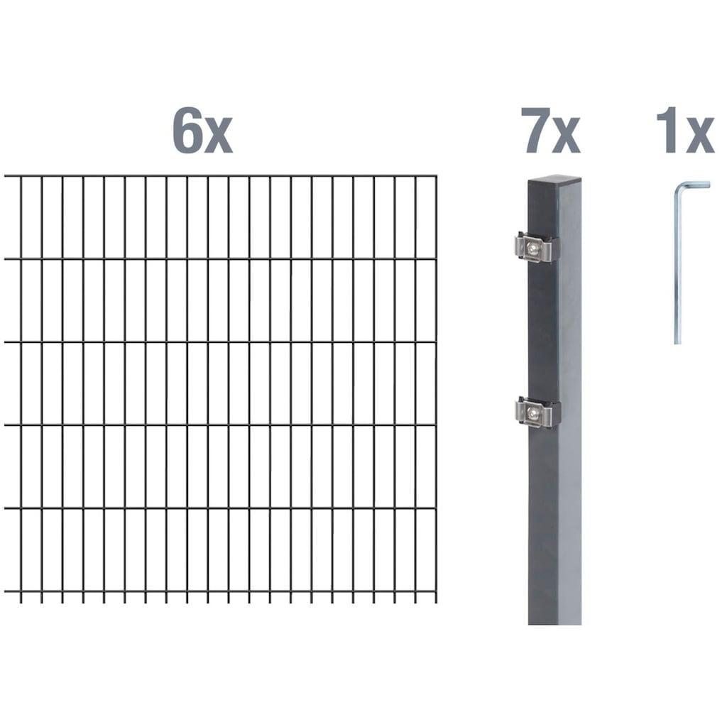 GAH Alberts Doppelstabmattenzaun, 140 cm hoch, 6 Matten für 12 m, 7 Pfosten