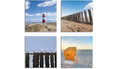 Artland Leinwandbild »Leuchtturm Sylt Strand Möven Strandkorb« kaufen
