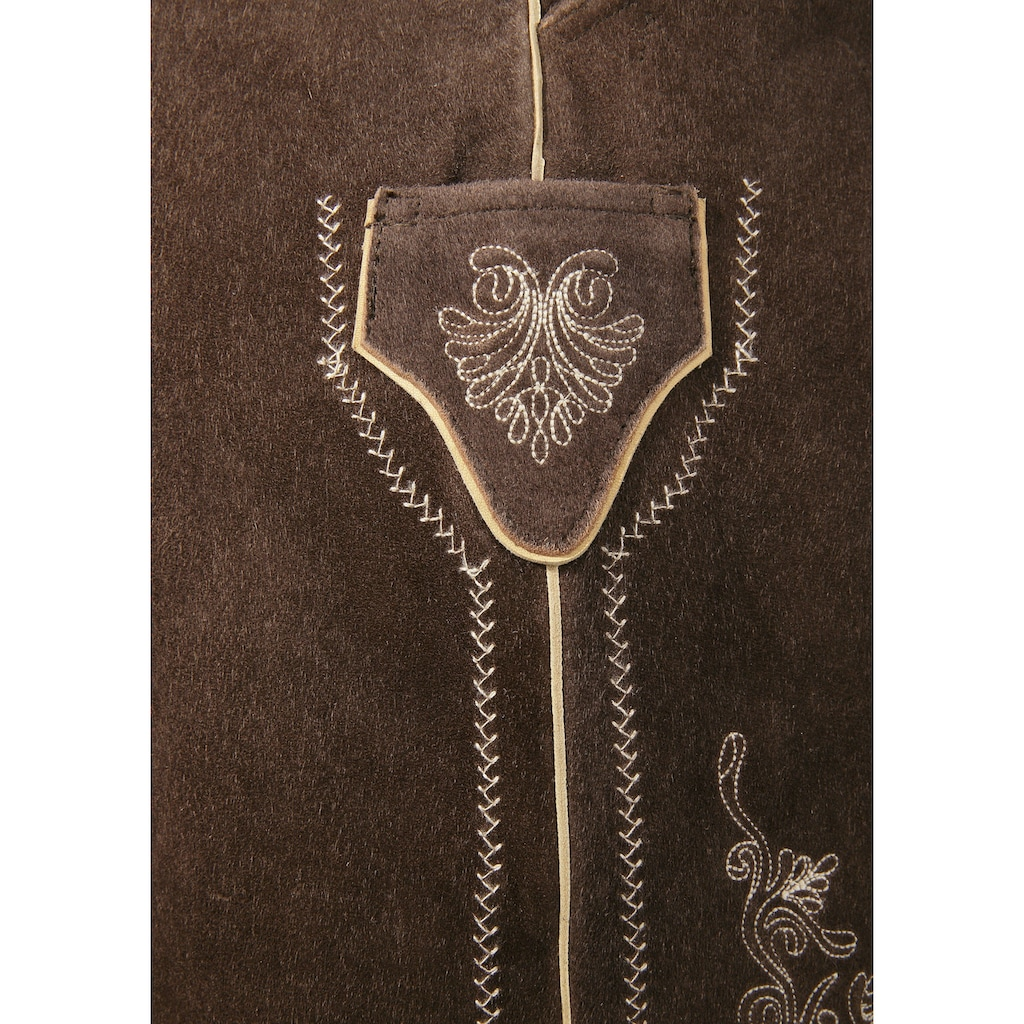 Country Line Trachtenlederhose, (2 tlg., mit Gürtel), aus weichem Ziegenveloursleder