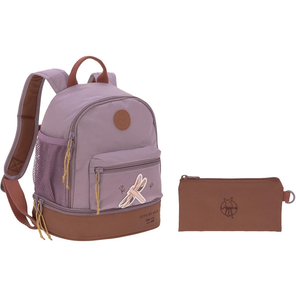 LÄSSIG Kinderrucksack »Adventure, Dragonfly, Mini Backpack«, Floureszierende Flächen, PETA-approved vegan