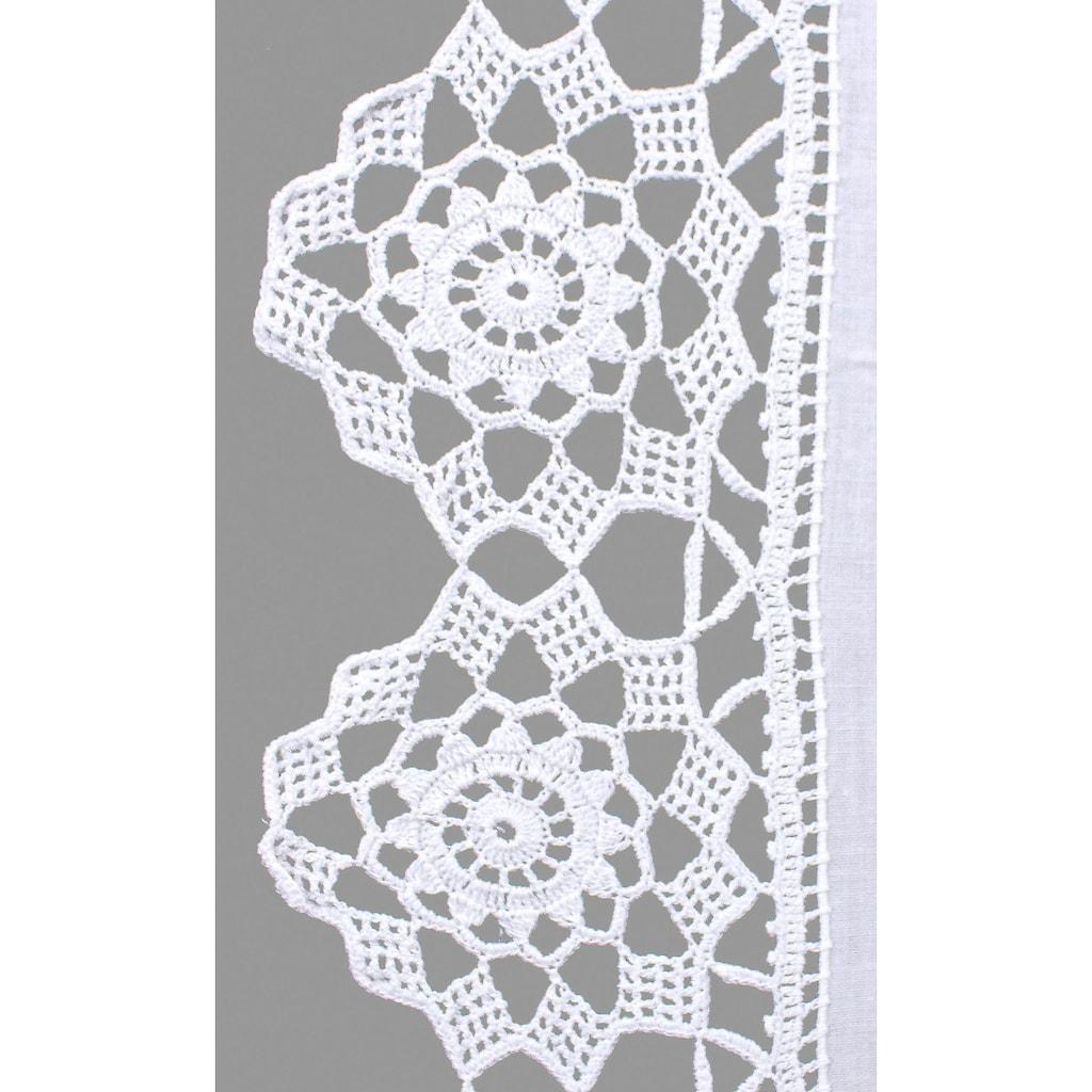 HOSSNER - ART OF HOME DECO Scheibengardine »Dufour«, handgehäkelte Spitze, weiß, Baumwolle