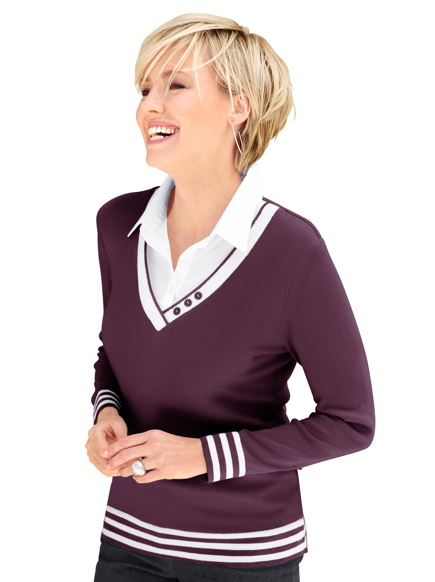 Casual Looks 2-in-1-Pullover mit Zierknöpfen am V-Ausschnitt | Bekleidung > Pullover > 2-in-1 Pullover | Casual Looks