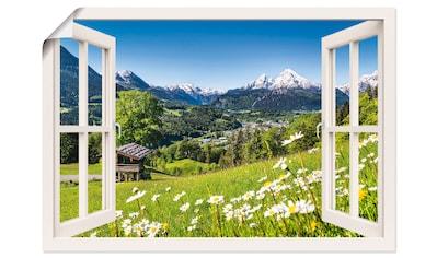 Artland Wandbild »Fensterblick Bayerischen Alpen«, Berge, (1 St.), in vielen Größen & Produktarten - Alubild / Outdoorbild für den Außenbereich, Leinwandbild, Poster, Wandaufkleber / Wandtattoo auch für Badezimmer geeignet kaufen