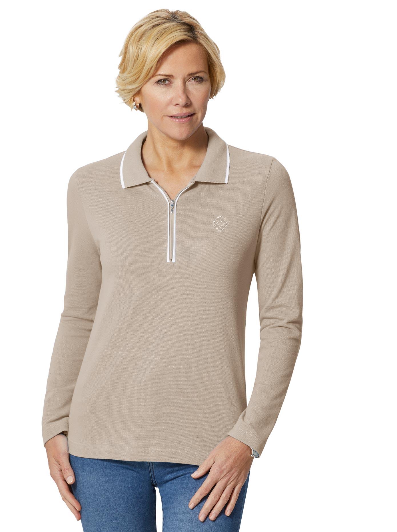 Casual Looks Poloshirt mit Ziersteinchen | Bekleidung > Shirts > Poloshirts | Grau | Casual Looks
