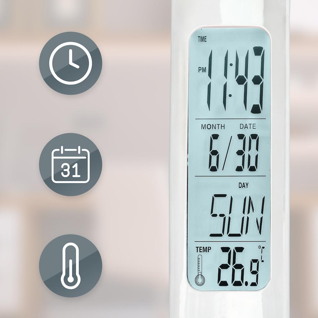 B.K.Licht LED Tischleuchte, LED-Board, Neutralweiß, LED Schreibtisch-Leuchte Display Tischlampe Büro Thermometer Touch dimmbar weiß