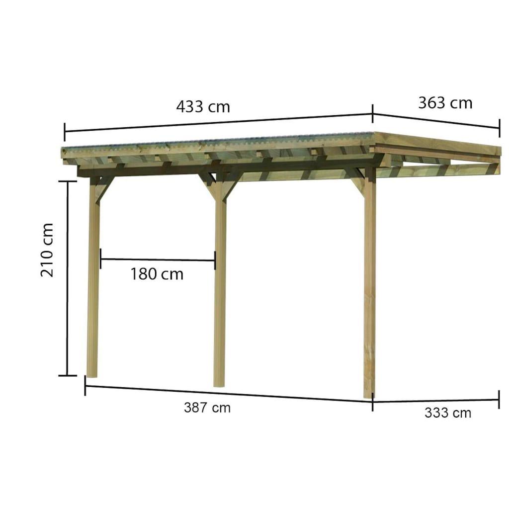 Karibu Anlehncarport »Eco 2«, Holz, 324 cm, braun