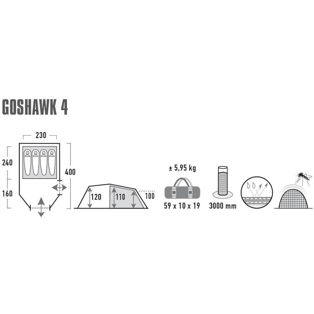 High Peak Tunnelzelt »Zelt Goshawk 4«, 4 Personen, (mit Transporttasche)