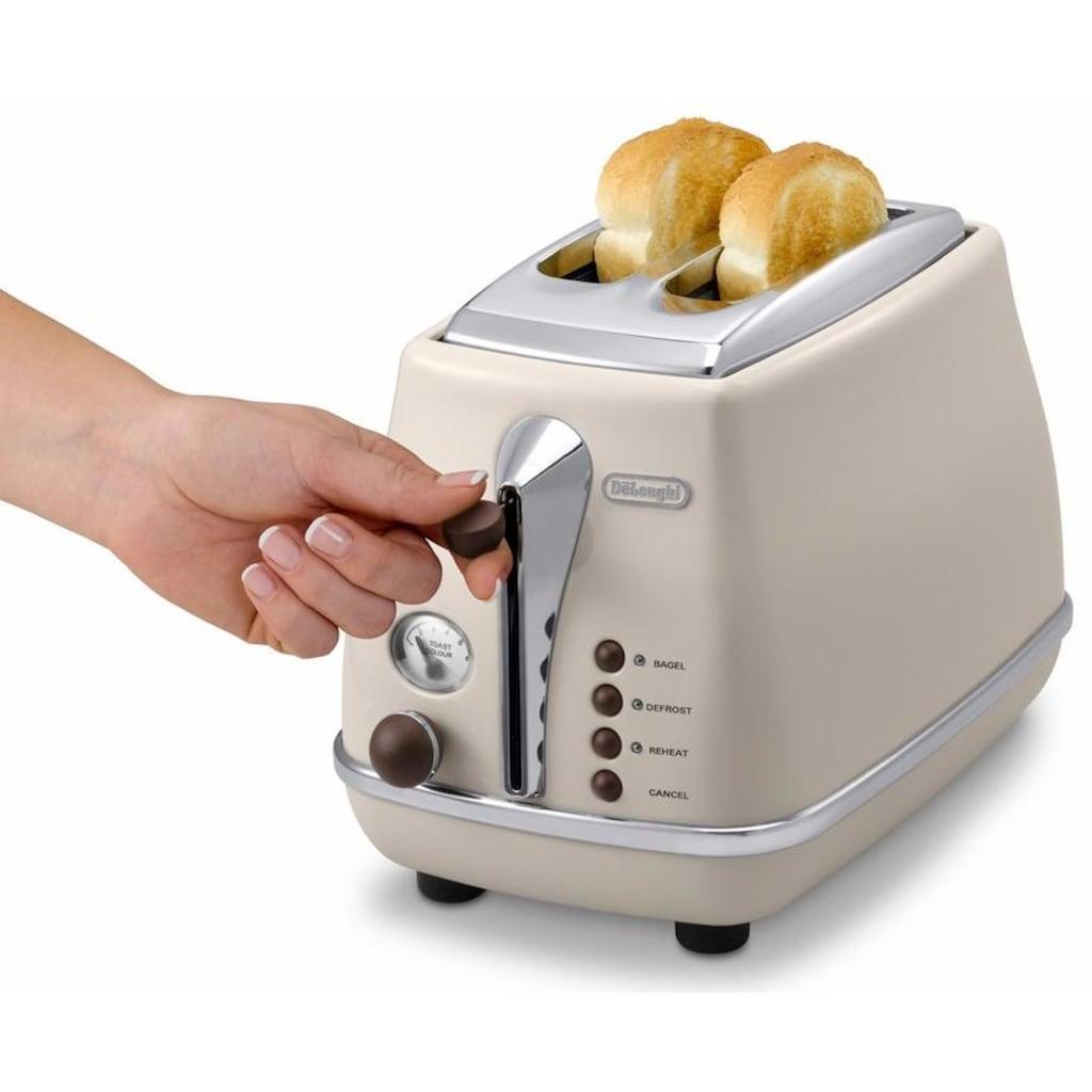 De'Longhi Toaster »Incona Vintage »CTOV 2103.BG««, 2 kurze Schlitze, 900 W, im Retro Look, cremefarben