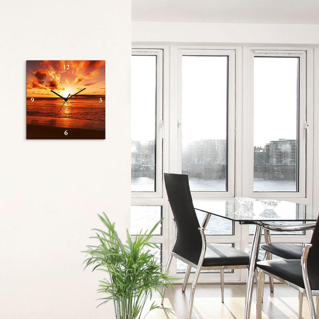 Artland Wanduhr »Schöner Sonnenuntergang Strand«, lautlos, ohne Tickgeräusche, nicht tickend, geräuschlos - wählbar: Funkuhr o. Quarzuhr, moderne Uhr für Wohnzimmer, Küche etc. - Stil: modern