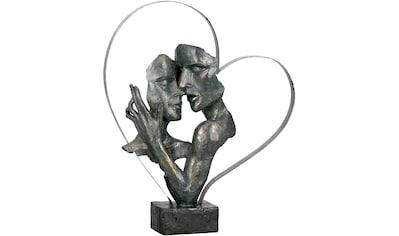 GILDE Dekofigur »Skulptur Essential, bronzefarben/braun«, Dekoobjekt, Höhe 37, Pärchen in Metallherz, antikfinish, mit Spruchanhänger, Wohnzimmer kaufen