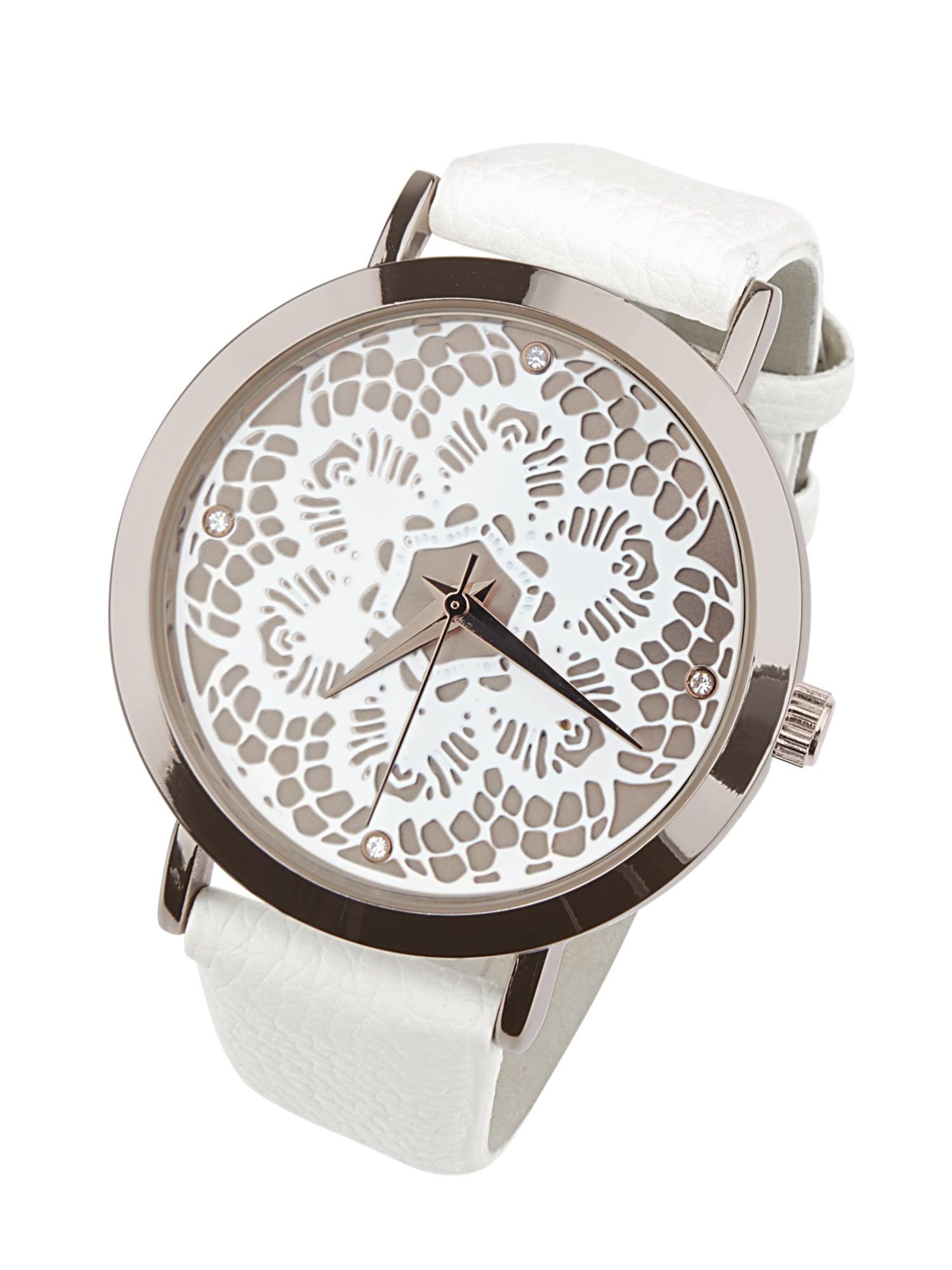 Heine Armbanduhr in Spitzen-Optik   Uhren > Sonstige Armbanduhren   Weiß   Metall - Polyurethan   Heine