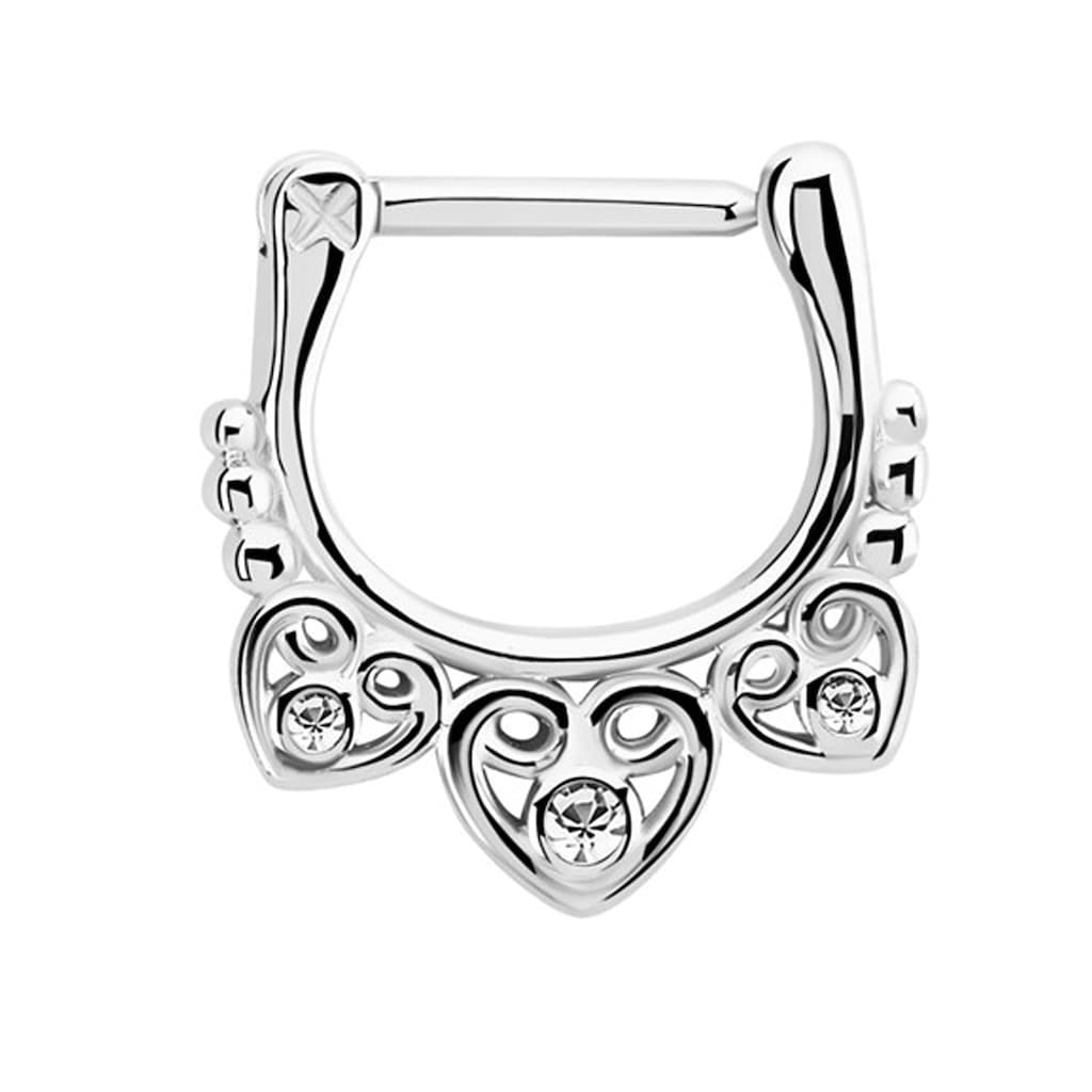 Adelia´s Nasenpiercing »Septum Clicker Nasenpiercing aus 316l Stahl mit drei Herzen«, 316l Stahlstab als Verschluss Clicker