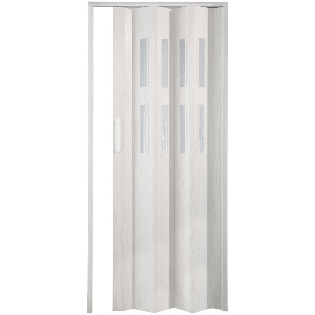 FORTE Kunststoff-Falttür »Luciana«, eiche weiß, mit 2 Fenstern in Riffelstruktur