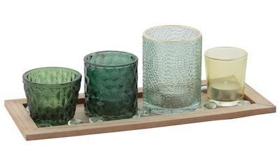 my home Teelichthalter, Tabett mit 4 Gläsern und Dekoration kaufen