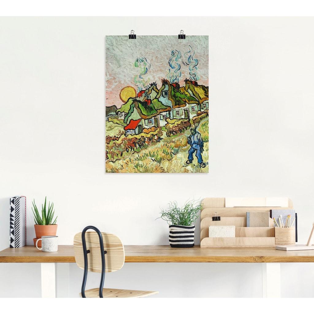 Artland Wandbild »Bauernhäuser bei Sonnenuntergang«, Sonnenaufgang & -untergang, (1 St.), in vielen Größen & Produktarten -Leinwandbild, Poster, Wandaufkleber / Wandtattoo auch für Badezimmer geeignet