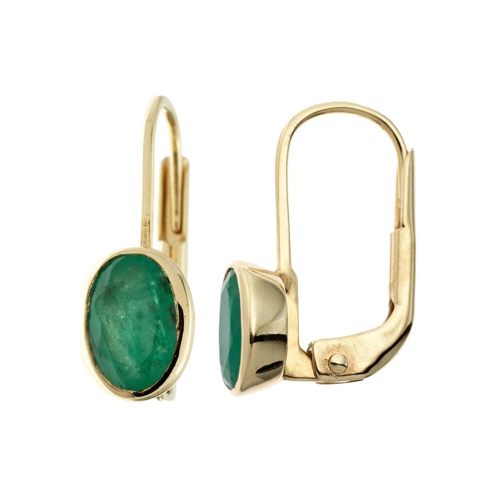 JOBO Paar Ohrhänger, oval 333 Gold mit Smaragd