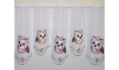 Gardine, »Eulen in Rosa - braun«, Stickereien Plauen, Stangendurchzug 1 Stück kaufen