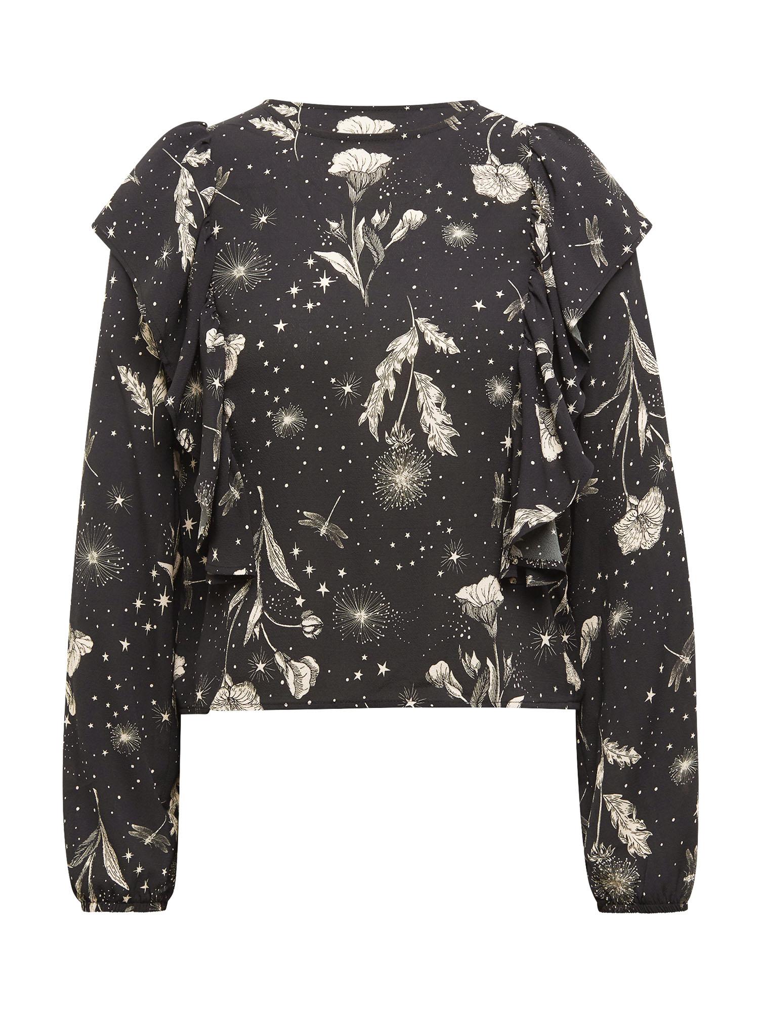 Mavi Schlupfbluse, im Blumenmuster und Volant schwarz Damen Schlupfbluse langarm Blusen Tuniken