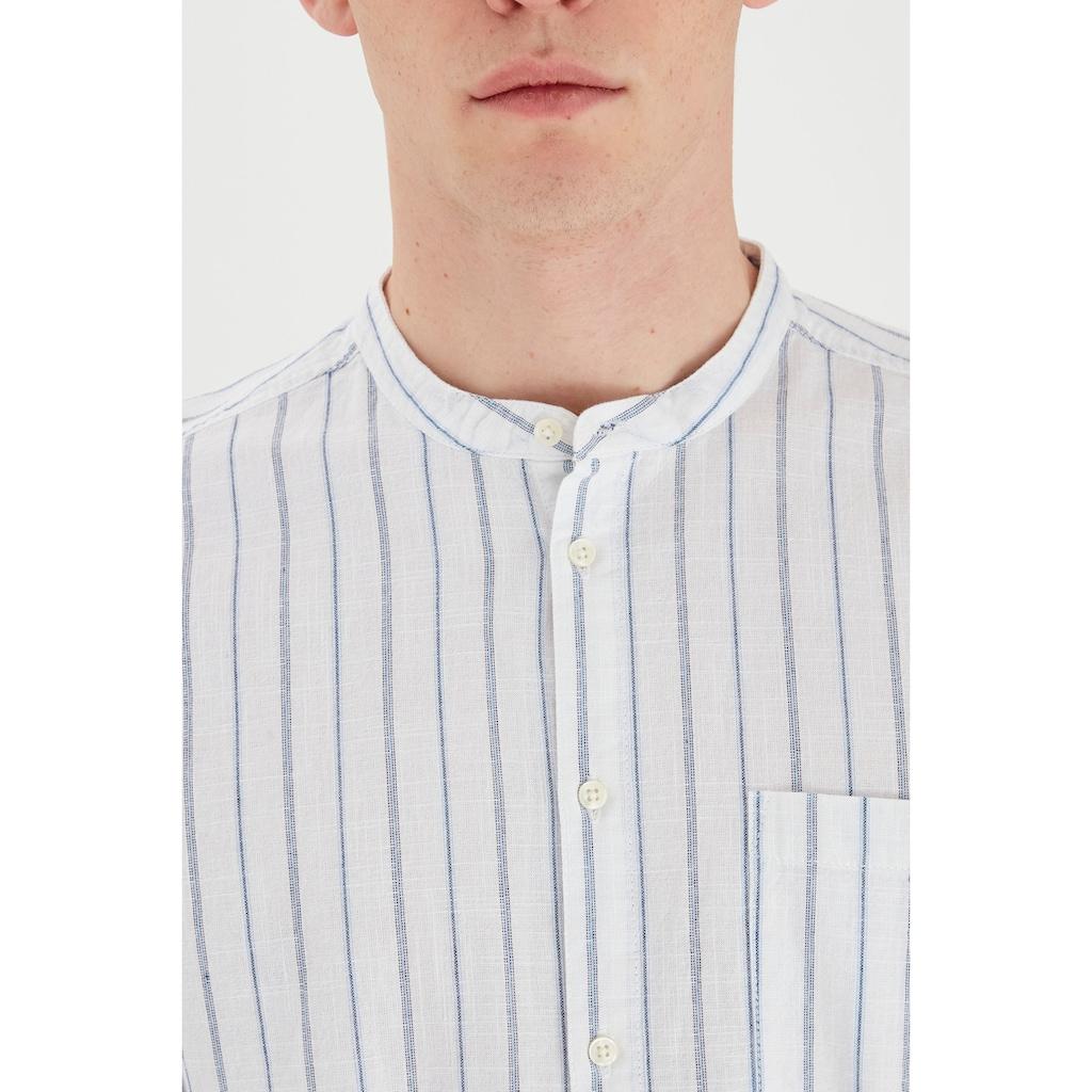 Blend Langarmhemd »Blend Herrenhemd mit kleinem Stehkragen«, Herren Freizeithemd
