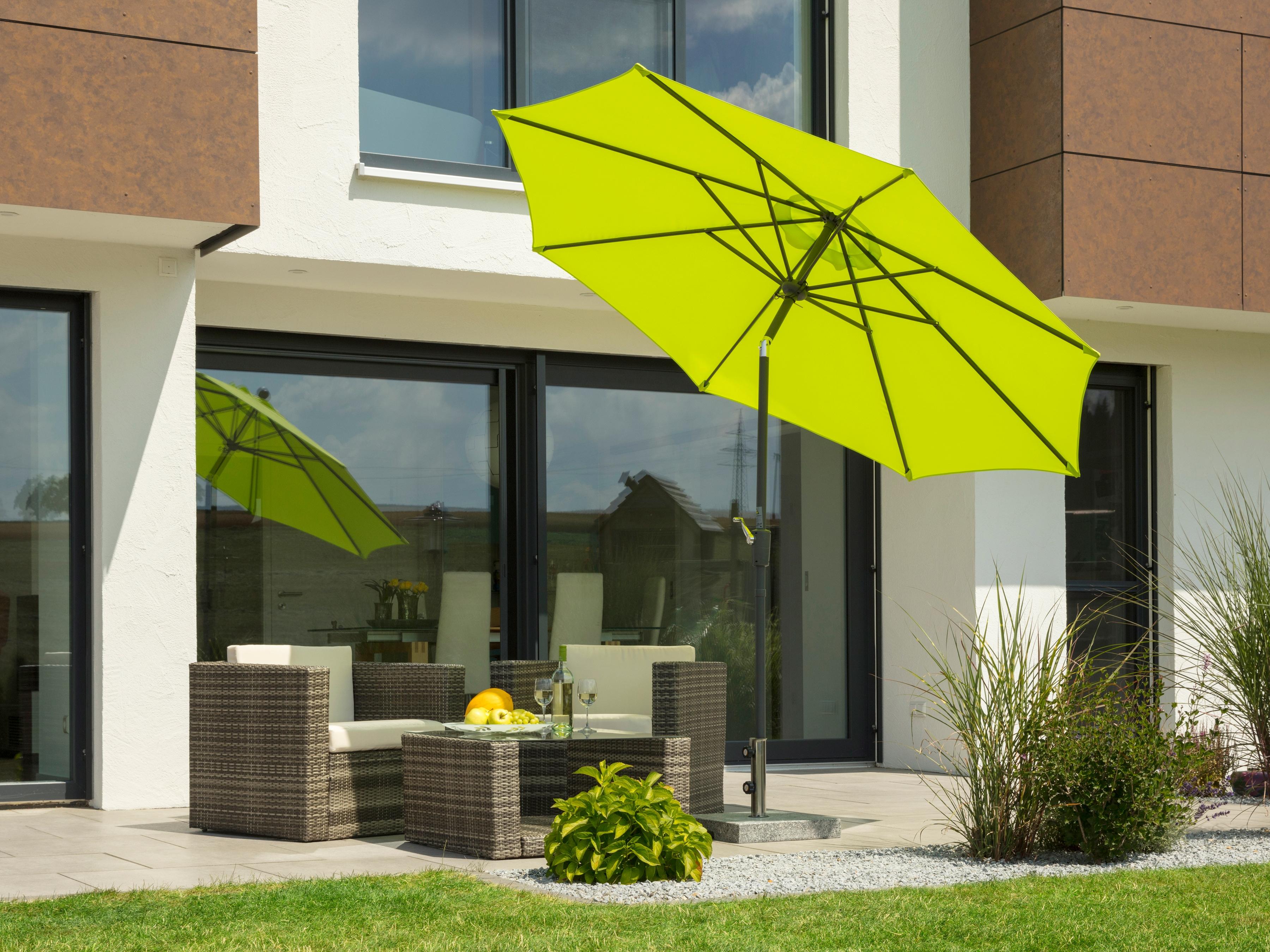 Schneider Schirme Sonnenschirm Harlem, ohne Schirmständer grün Sonnenschirme -segel Gartenmöbel Gartendeko