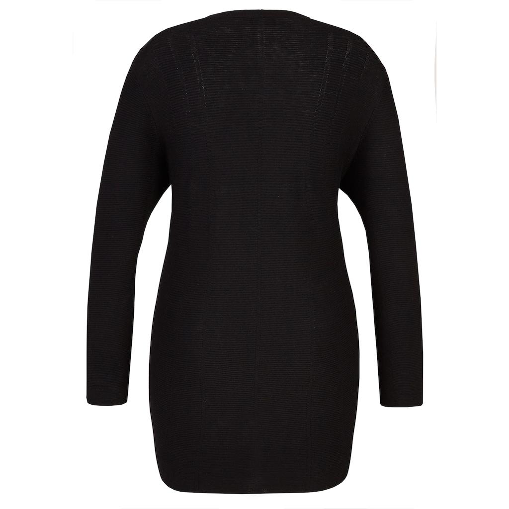 VIA APPIA DUE Stilbewusster Cardigan mit Struktur-Streifen Plus Size