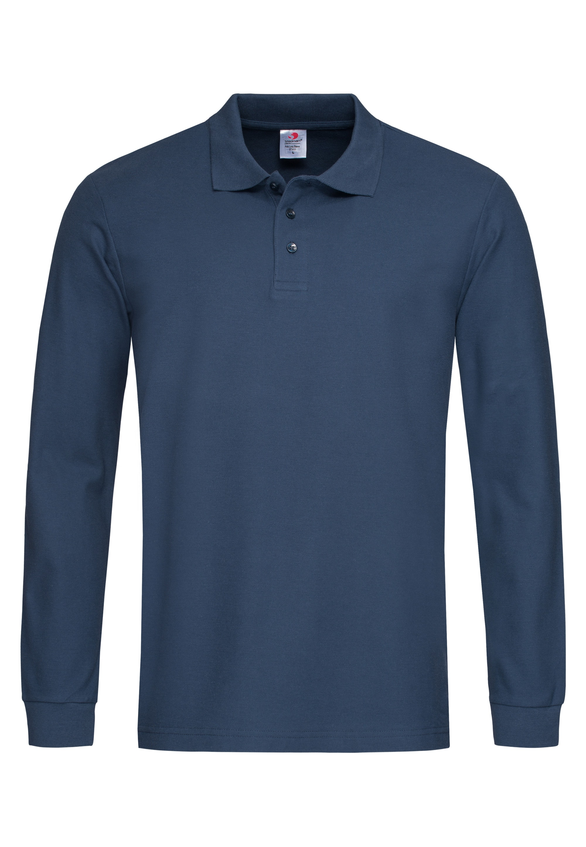stedman -  Langarm-Poloshirt, mit Ton-in-Ton-Knopfleiste
